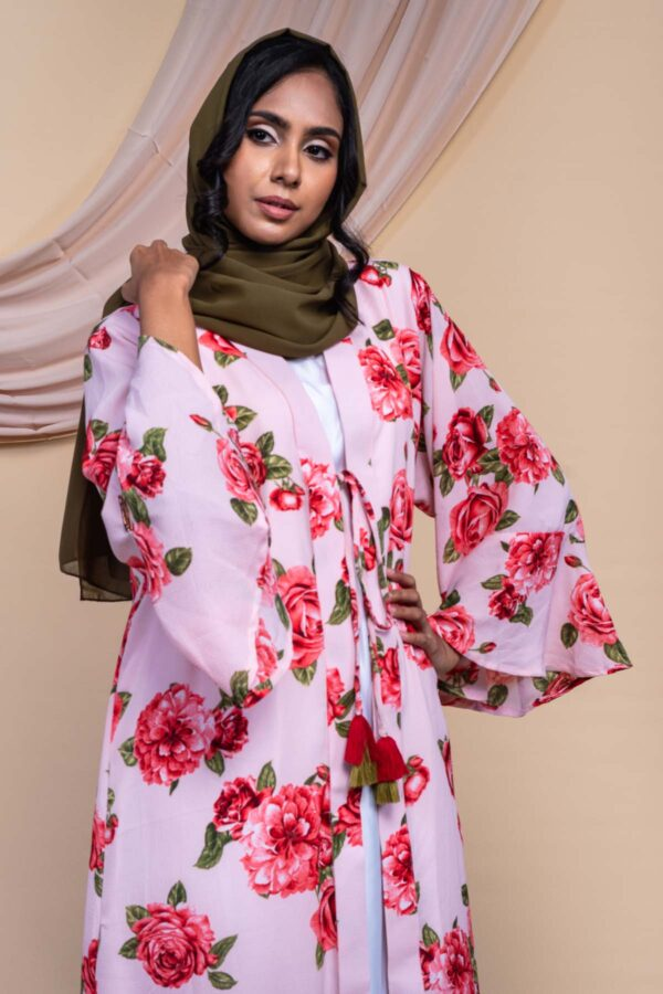 Colour Abaya Design - Pink Rose